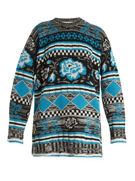 sweater oversized wool knit blue
