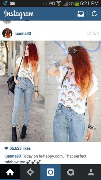 luanna perez rainbow shirt rainbow white shirt white top high waisted jeans black shoes instagram instagramfashion