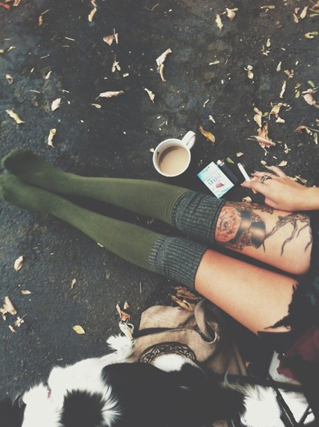 tights grunge green light green dark green fall outfits fall outfits fall outfits warm hipster sock cozy forest green knee high socks socks hot indie tumblr girl thigh highs comfy fall outfits green socks army green