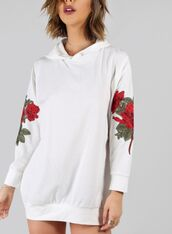 jacket,girly,white,oversized sweater,oversized,hoodie,embroidered,floral,flowers