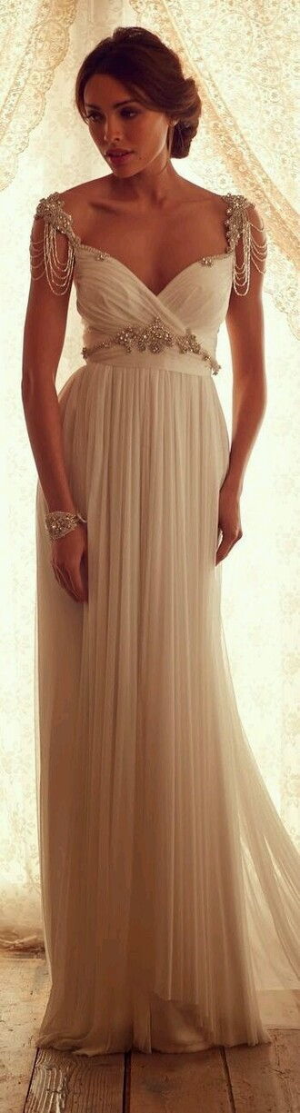 dress ivory dress gold jewels prom dress