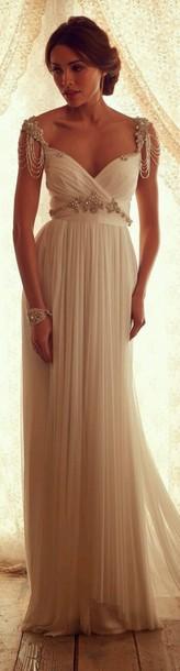 dress ivory dress gold jewels prom dress