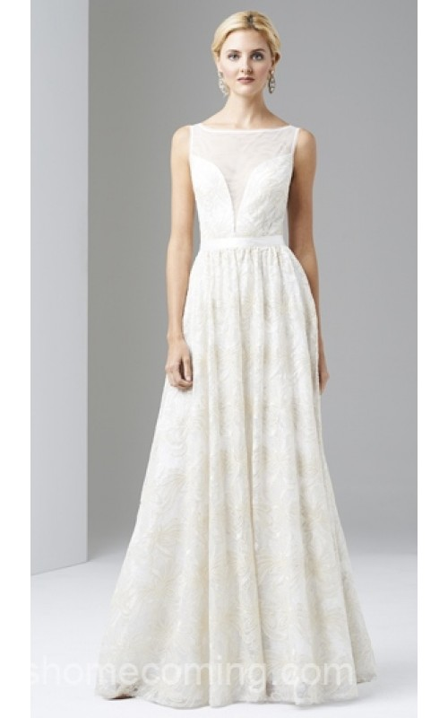 Adrianna Papell Sequins Lace White Wedding Gown