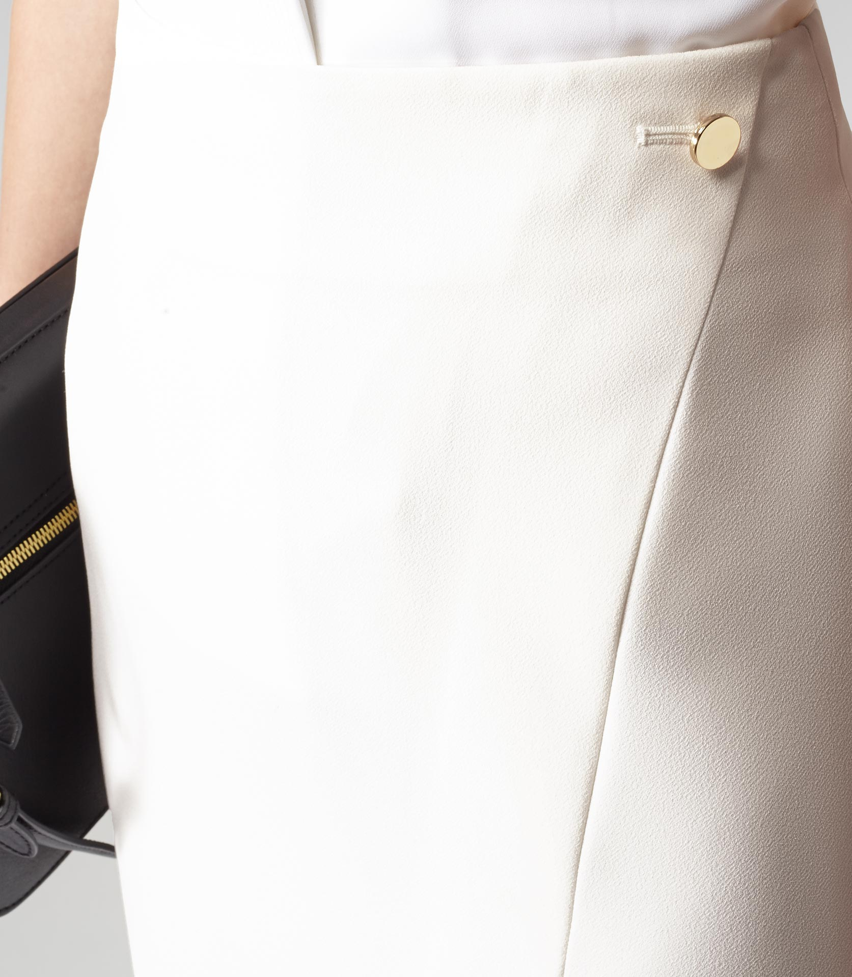 Adriana Ivory Button Wrap Style Skirt - REISS
