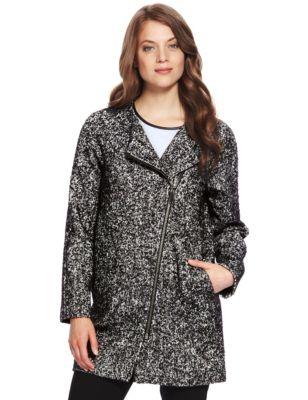 Textured Tweed Cocoon Coat with Wool | M&S