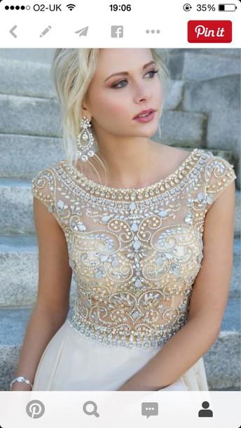 dress wedding dress prom dress jewels short sleeve gemstone gold silver wedding