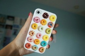phone cover,cover,iphone,iphone cover,donut,color/pattern,pink,blue,yellow,food,iphone 5s,hat