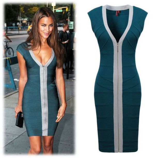 dress bodycon petrol