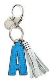 bag,bag charm,letter,keychain,tassel,blue