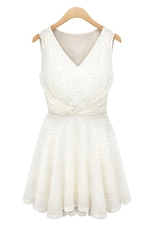 dress,white dress,pleated dress,v neck dress