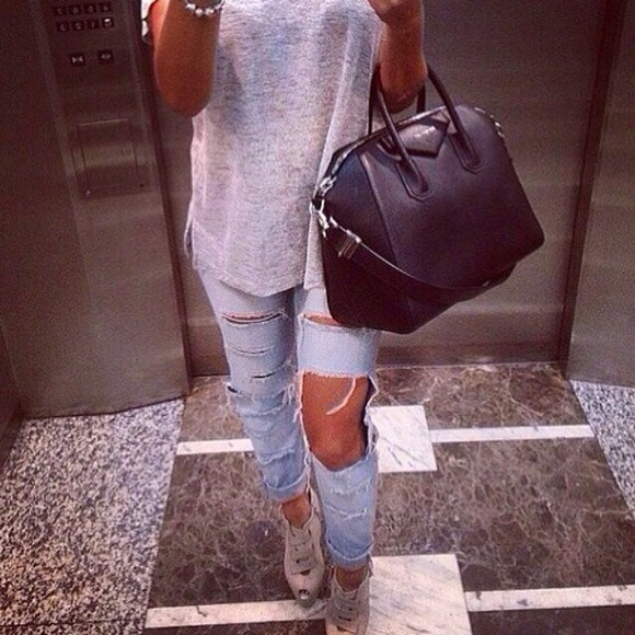 jeans ripped jeans bag denim distressed jeans