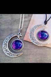 jewels,cute,blue,purple,necklace,boho,boho chic,boho jewelry,boho necklace,moon necklace,moon,half moon,purple jewels,purlple