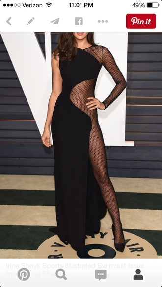 dress long irina shayk black dress sheer dress mesh dress