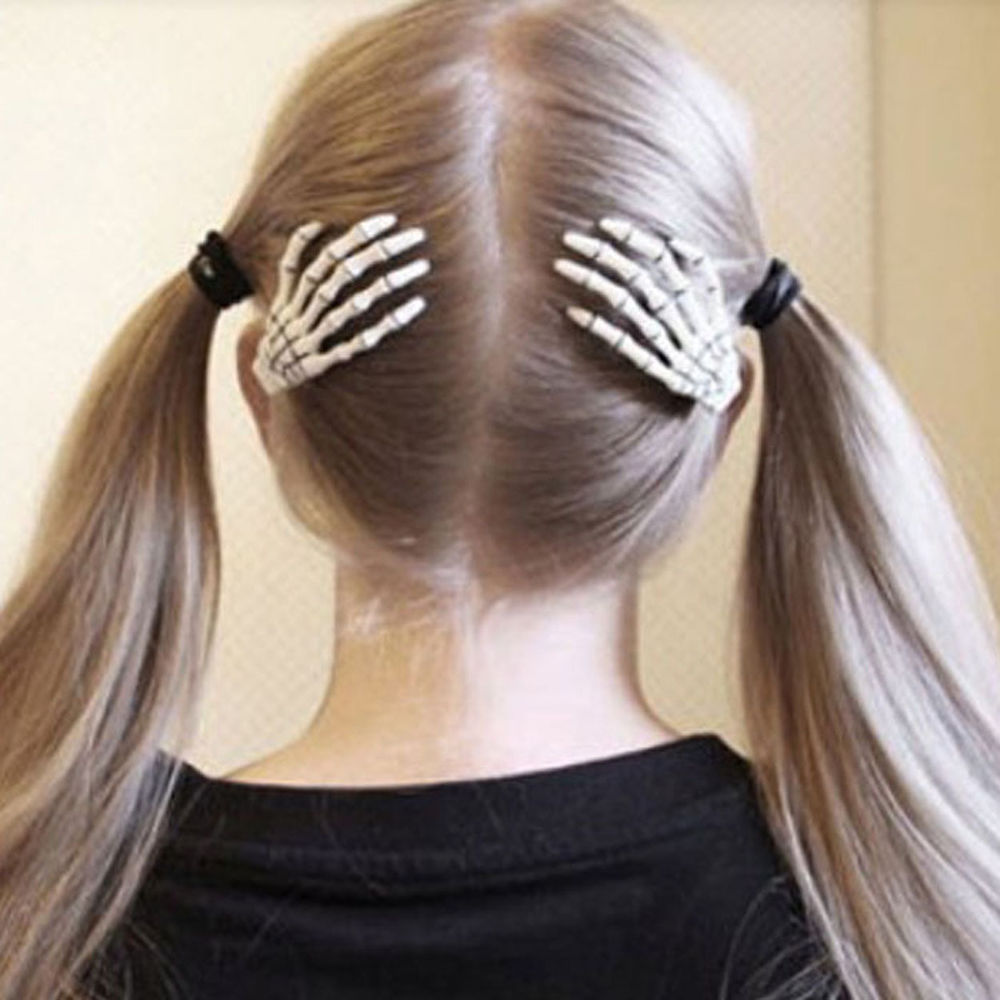 Women skeleton hand bone claw punk hair clip zombie horror hairpin wh