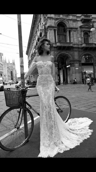 dress wedding dress lace white  off shoulders