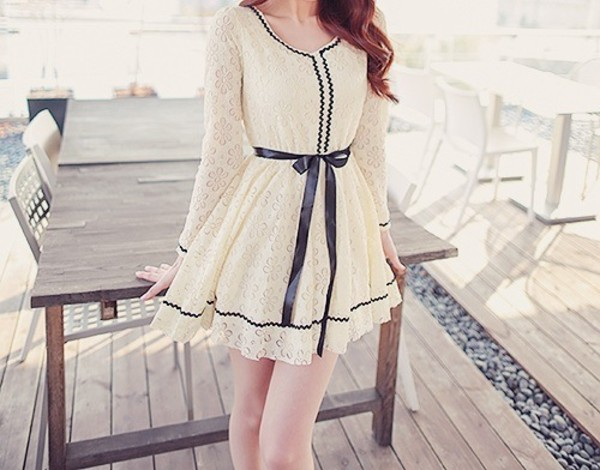 dress cream bow blue girly lace