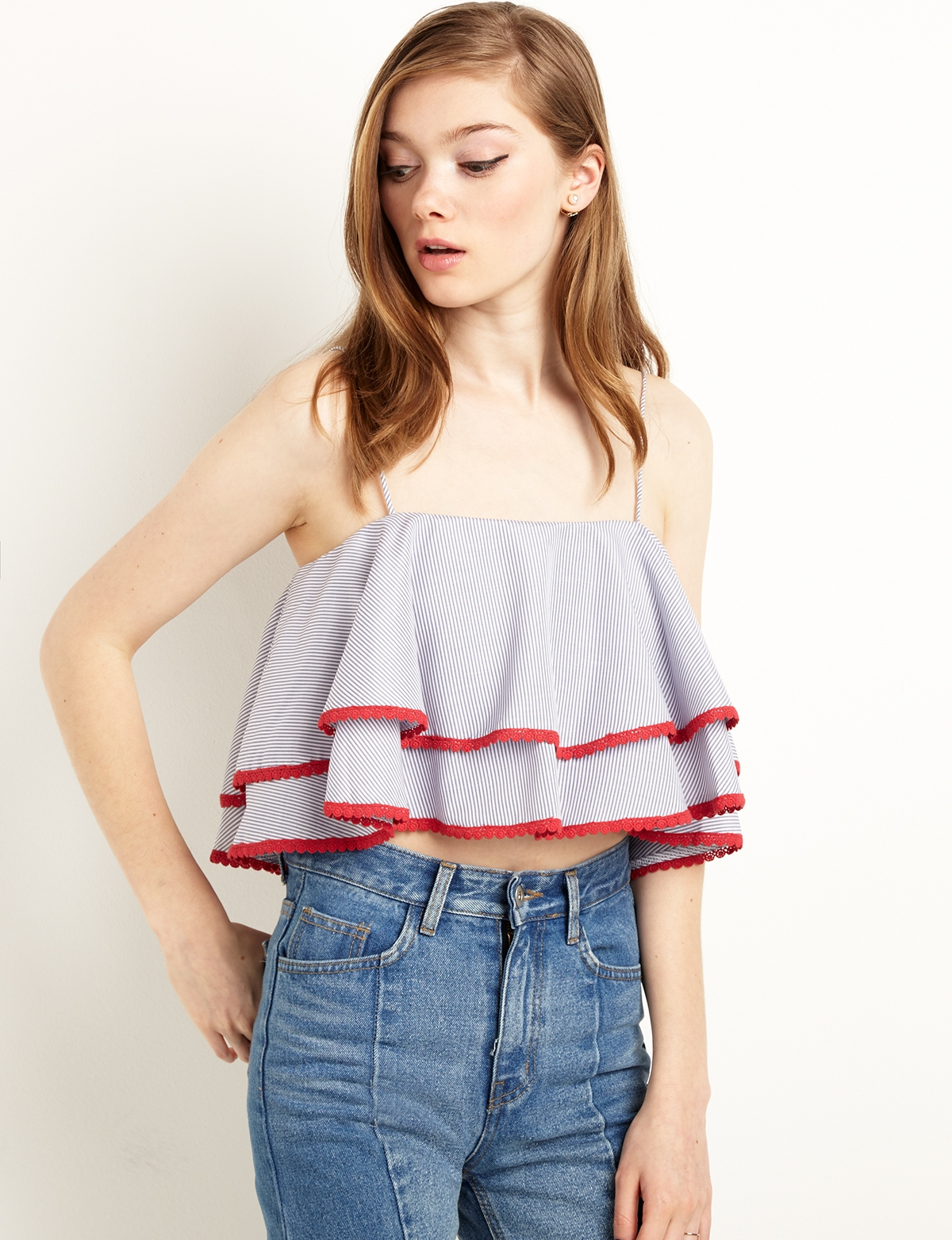 f2cdfe7f79500 Blue and Red Ruffled Off the Shoulder Crop Top