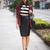 Black Stripe Crop T-shirt | Choies