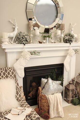 home accessory home decor holiday home decor christmas mirror fireplace pillow decoration tumblr christmas home decor