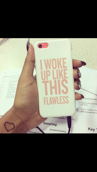 phone cover white beyoncé flawless pink i woke up like this nail accessories