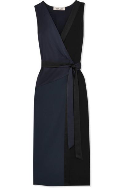 Diane Von Furstenberg dress midi dress midi navy satin