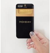 phone cover,saint laurent,black,gold,iphone 5 case,iphone case,technology