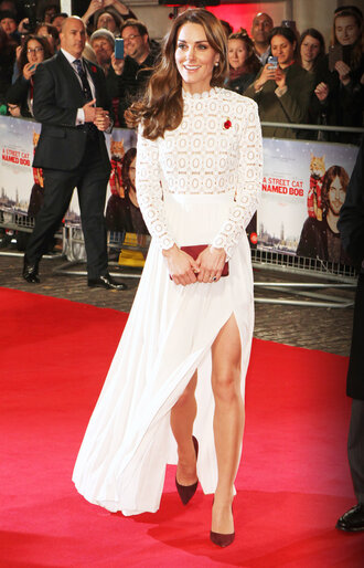 dress gown white white dress kate middleton slit dress lace dress