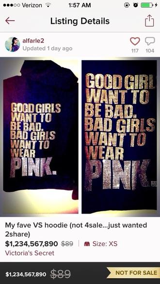 blouse pink by victorias secret victoria's secret bling rare hoodie