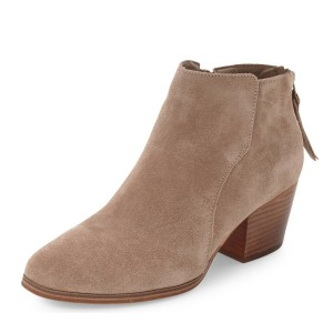Taupe Wooden Chunky Heel Boots Suede Round Toe Short Boots