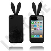 jewels,phone cover,black,bunny