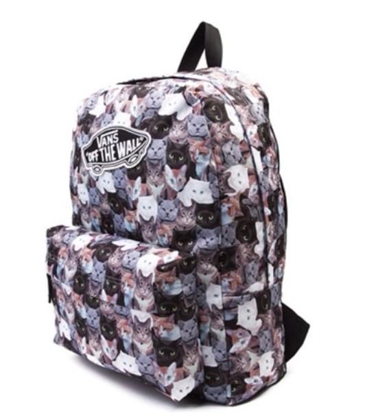 3097deb895 bag grunge vans backpack hipster cats cat bag