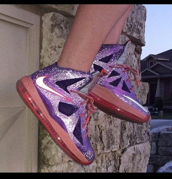 shoes jordans nikes kds galaxy print purple shoes lebron lebrons