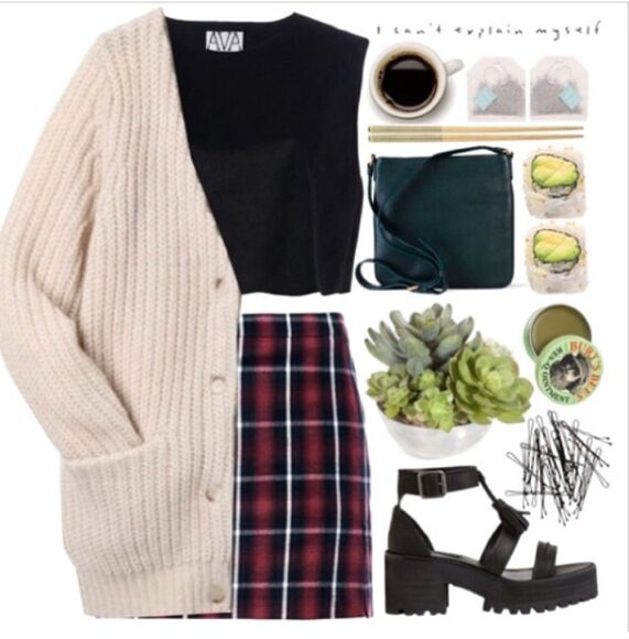 outfit skirt cardigan dope hipster indie flannel instagram kylie jenner miley cyus