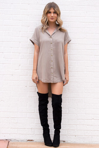 dress tee dress shirt dress boots thigh high boots thigh highs neutral colors beige beige dress fashion style fall outfits fall colors fall dress trendy ootd love sexy sexy dress mini dress minimalist