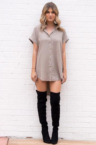 Dress Tee Shirt Boots Thigh High Highs Neutral Colors Beige