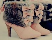 shoes,boots,bows,pretty,suede,pink,blue,booties,faux fur,fur,feminine,heels,clothes