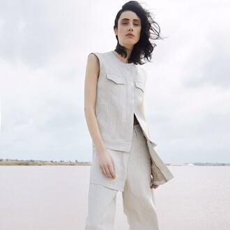 jacket maison margiela top trendy luxury editorial lvr diary light grey off-white summer white pink lagoon sea beach