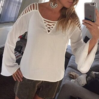 top blouse casual fashion style white summer spring outfit sweater long sleeves
