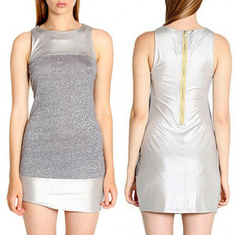 metallic dress bodycon dress silver dress exposed zipper sleeveless dress colorblock