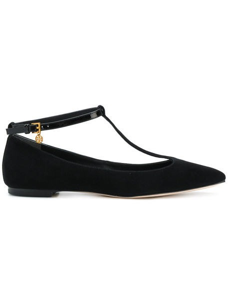 Tory Burch women flats leather suede black shoes