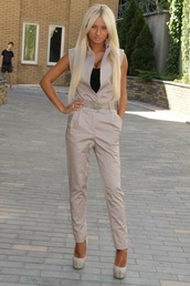 pants,romper,suit,beige,nude,jacket,top