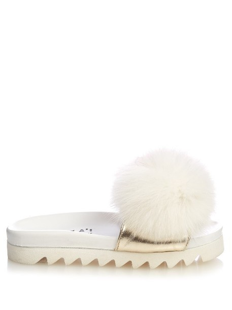Joshua Sanders fur white pink shoes