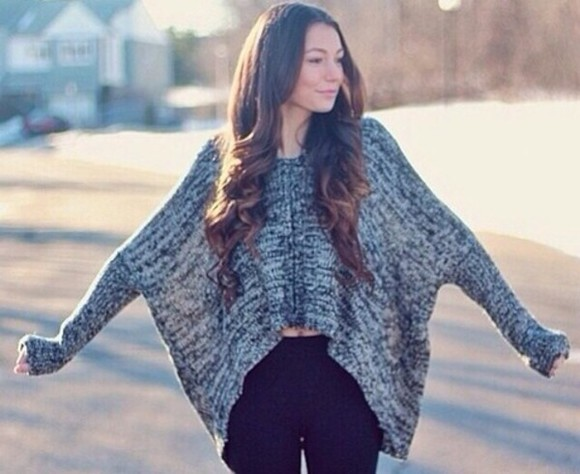 high-low cute sweater slouchy sweater comfortable