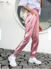 pants,girly,girl,girly wishlist,pink,joggers,joggers pants,satin,silk,tumblr