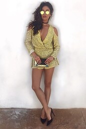 romper,instagram,shay mitchell,pumps,sunglasses,yellow,clutch,bag,pattern,jumpsuit,gold dress,yellow summer dress,yellow dress,ethnic pattern,lowcut one piece,off the shoulder,summer shorts,ibiza style,ibiza fashion,dress