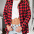 Red Lapel Dip Hem Plaid Checkered Blouse -SheIn(Sheinside)