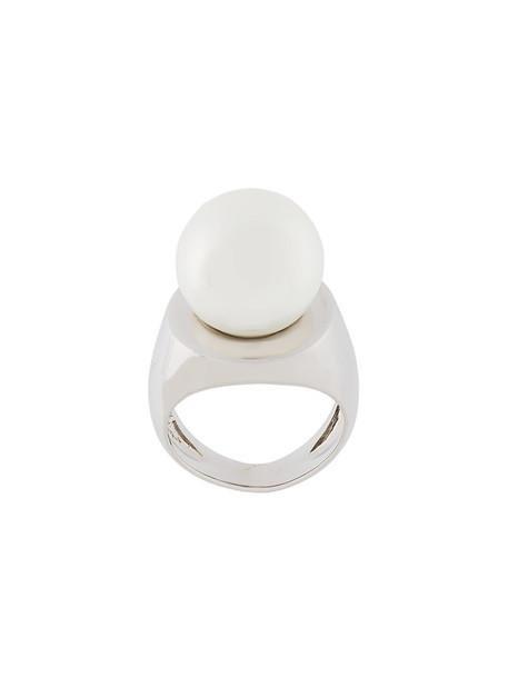 women pearl ring grey metallic jewels