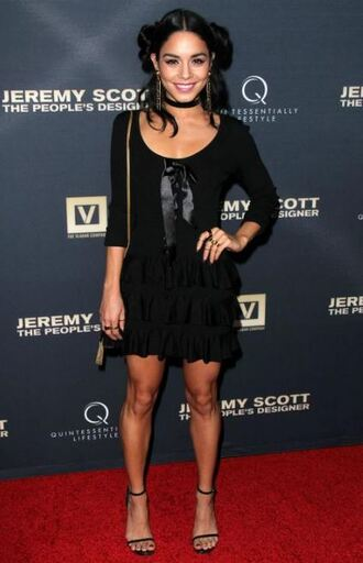 dress black black dress vanessa hudgens sandals mini dress