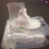 shoes,jelly boots,booties,jellies,white,white sole,white lace