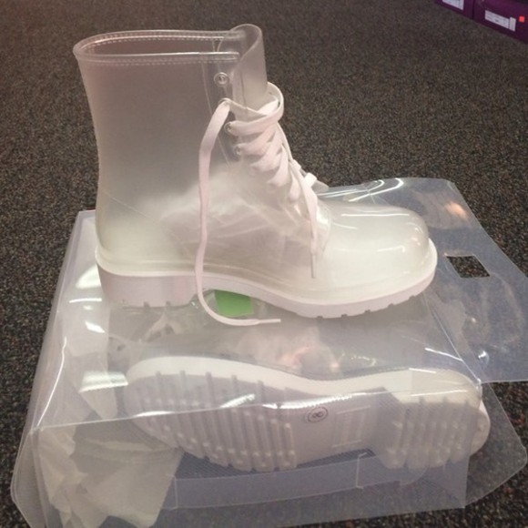 shoes jelly boots booties jellies white white sole white lace